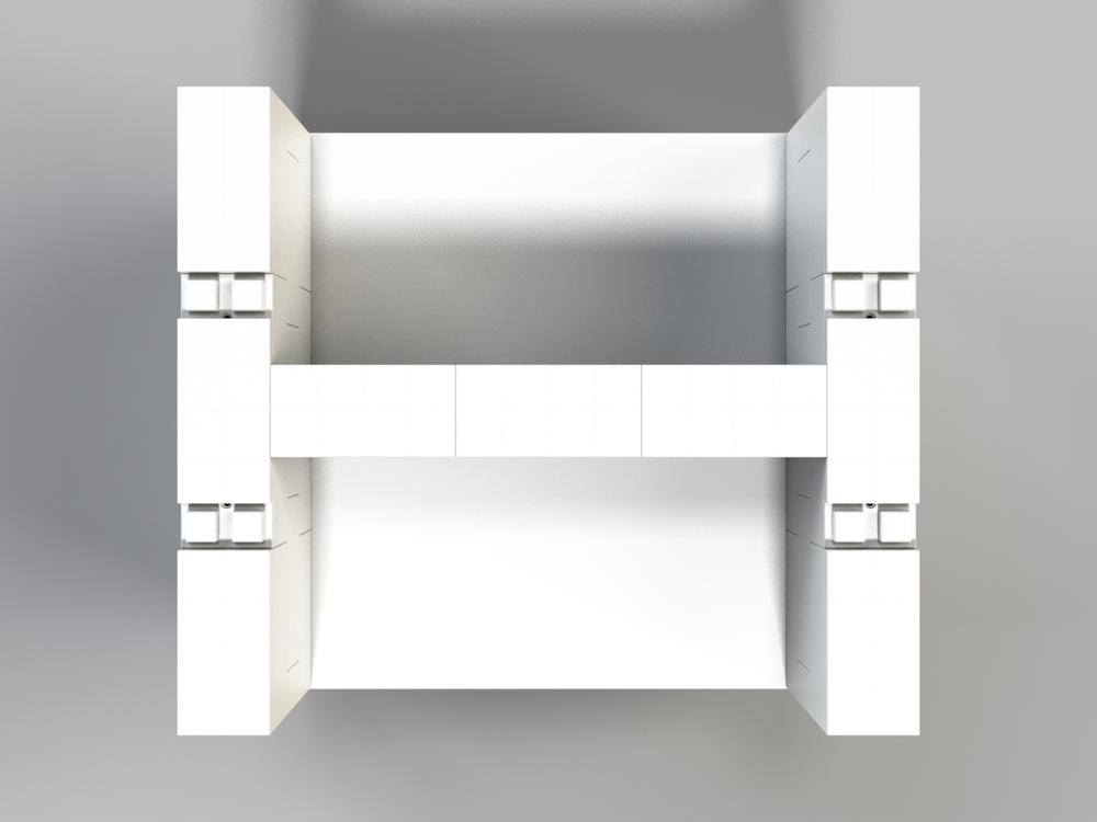 Doppel-Schreibtisch-Kombination - Ansicht von oben