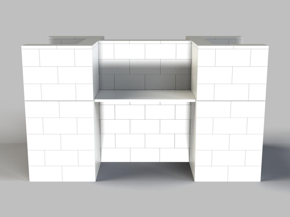 4-fach-Schreibtisch-Kombination - Rückansicht