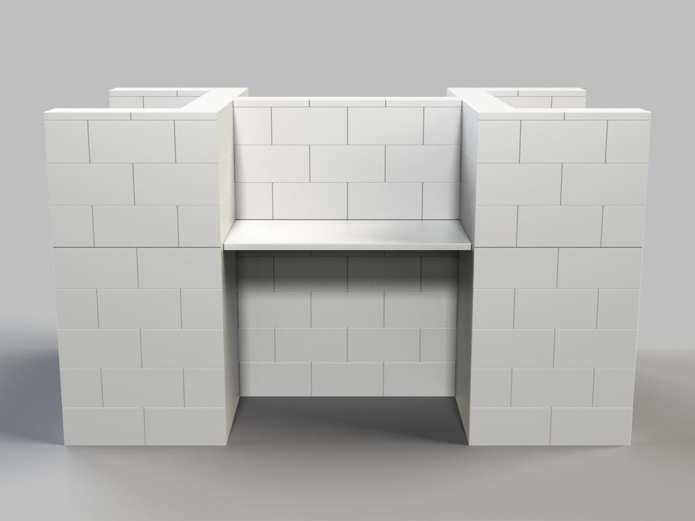 4-fach-Schreibtisch-Kombination - Frontansicht