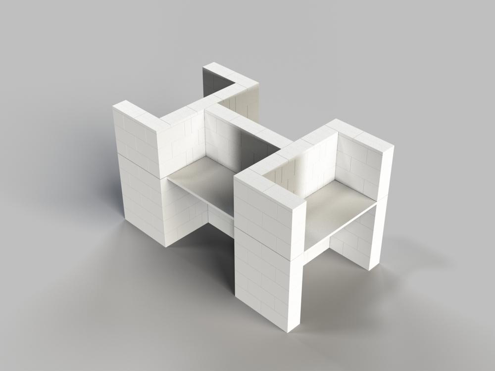 4-fach-Schreibtisch-Kombination