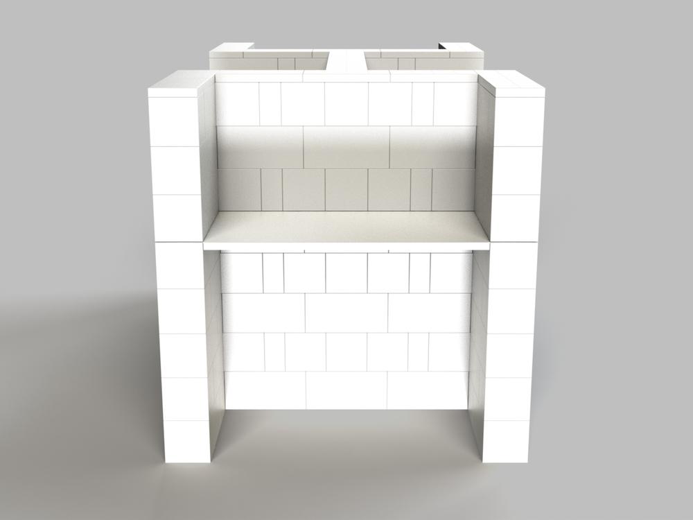 4-fach-Schreibtisch-Kombination - Seitenansicht