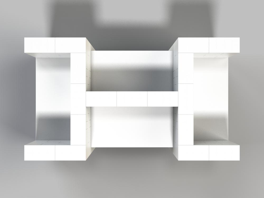 4-fach-Schreibtisch-Kombination - Ansicht von oben