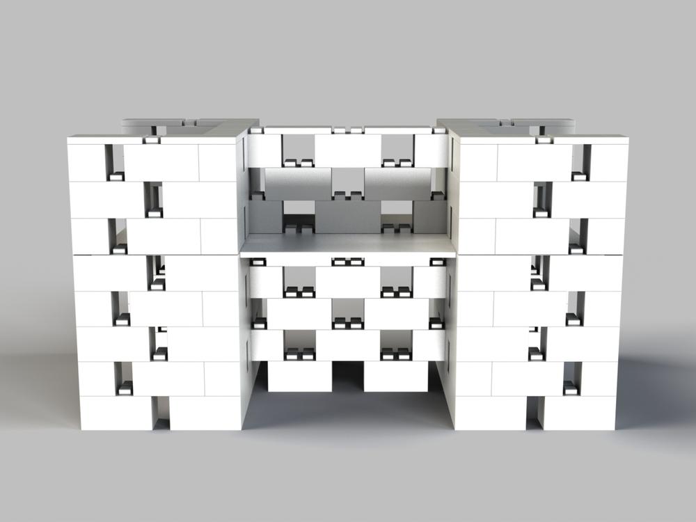 4-fach-Schreibtisch-Kombination offenes Design - Frontansicht