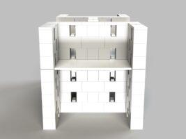 4-fach-Schreibtisch-Kombination offenes Design - Seitenansicht