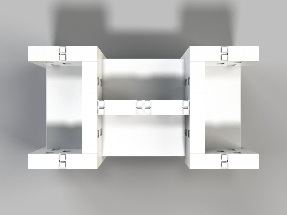 4-fach-Schreibtisch-Kombination offenes Design - Ansicht von oben