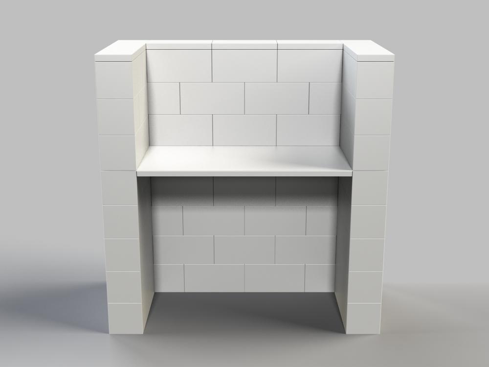 122cm Schreibtisch mit Sichtschutz - Vorderansicht
