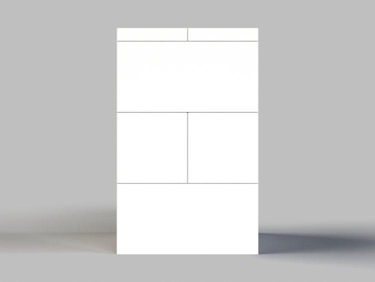 Hocker - 3 Ebenen - Vorder- / Rückansicht