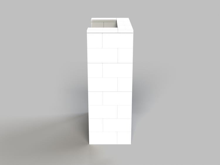 Stehpult, Höhe = 124,5cm - Seitenansicht