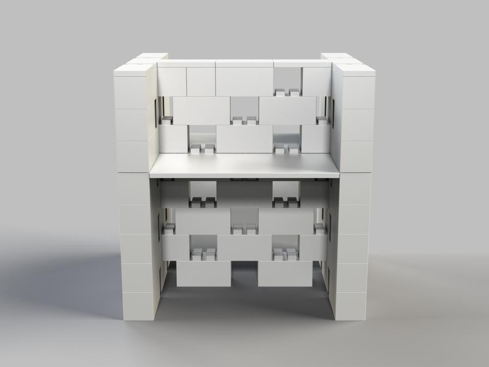 Doppel-Schreibtisch-Kombination mit Öffnungen - Vorder-/Rückansicht
