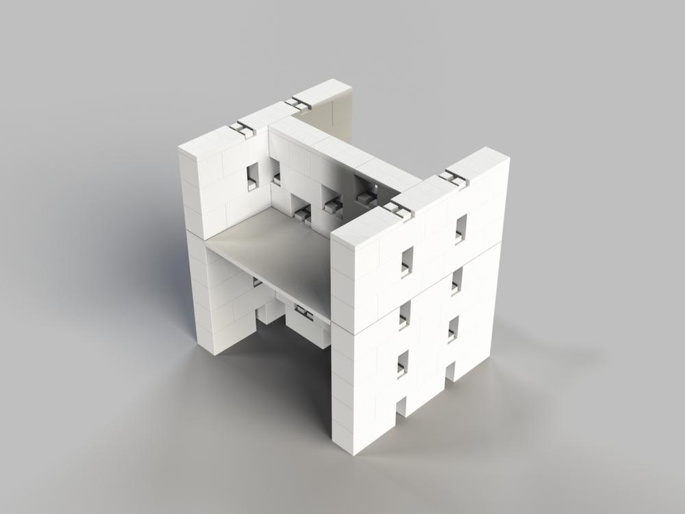 Doppel-Schreibtisch-Kombination mit Öffnungen