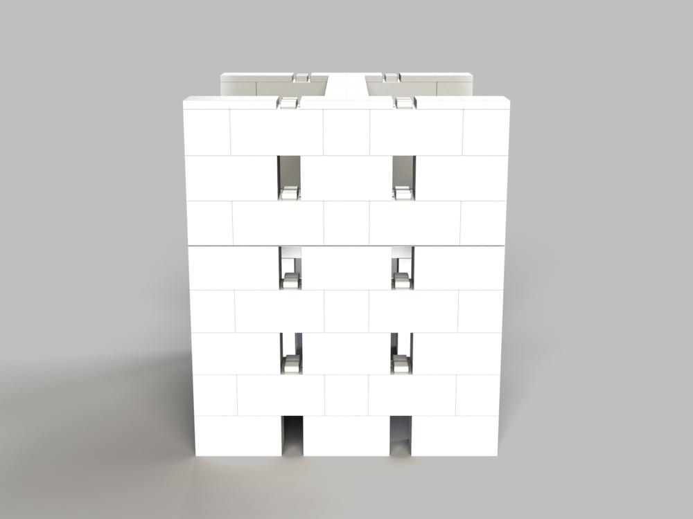 Doppel-Schreibtisch-Kombination mit Öffnungen - Seitenansicht