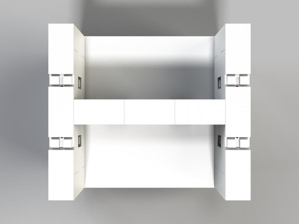 Doppel-Schreibtisch-Kombination mit Öffnungen - Ansicht von oben