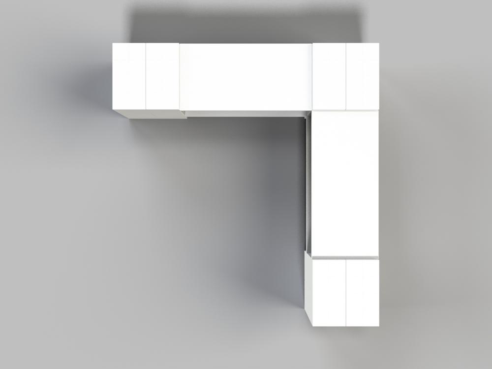 2-Ebenen-ECKREGAL - Typ A - Ansicht von oben