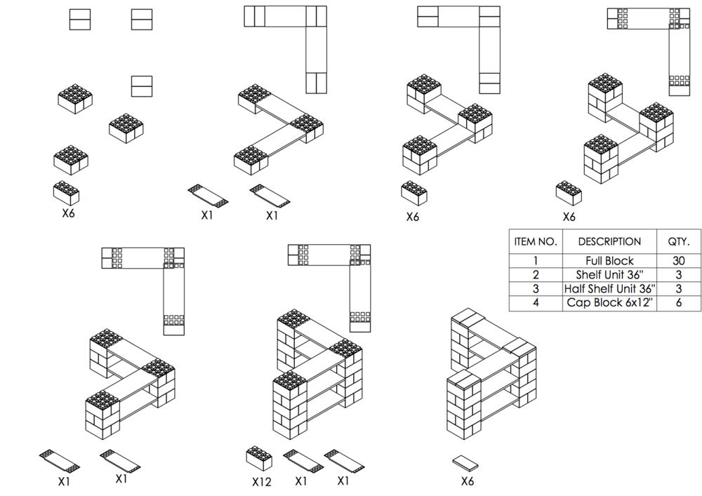 3-Ebenen-ECKREGAL - Typ A - Schritt-für-Schritt Instruktionen