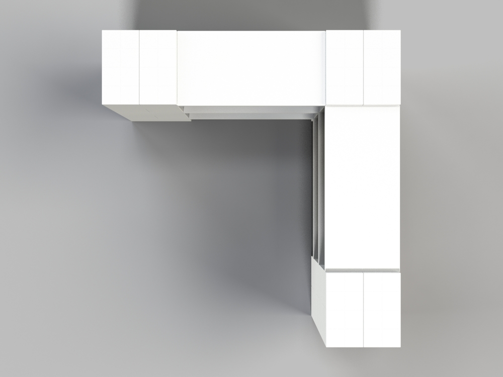 3-Ebenen-ECKREGAL - Typ A - Ansicht von oben