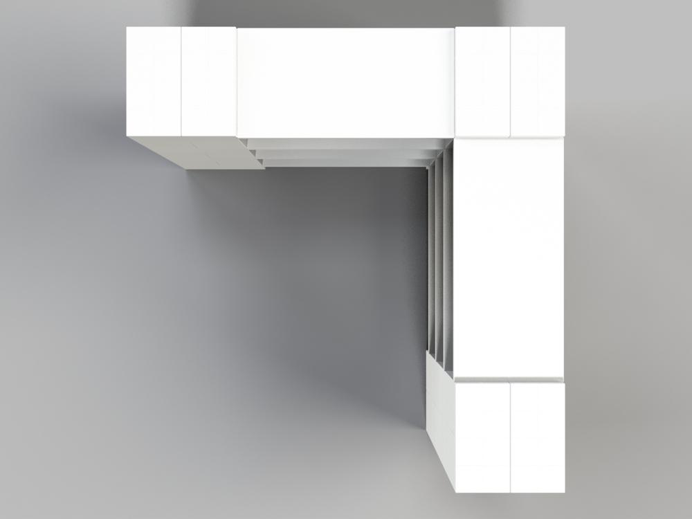 4-Ebenen-ECKREGAL - Typ A - Ansicht von oben