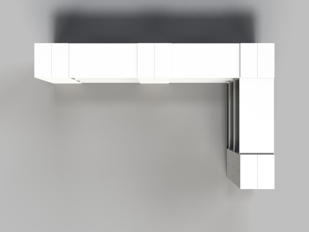 3-Ebenen-DOPPELECKREGAL - Typ A - Ansicht von oben