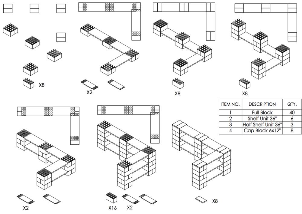 3-Ebenen-DOPPELECKREGAL - Typ A - Schritt-für-Schritt Instruktionen