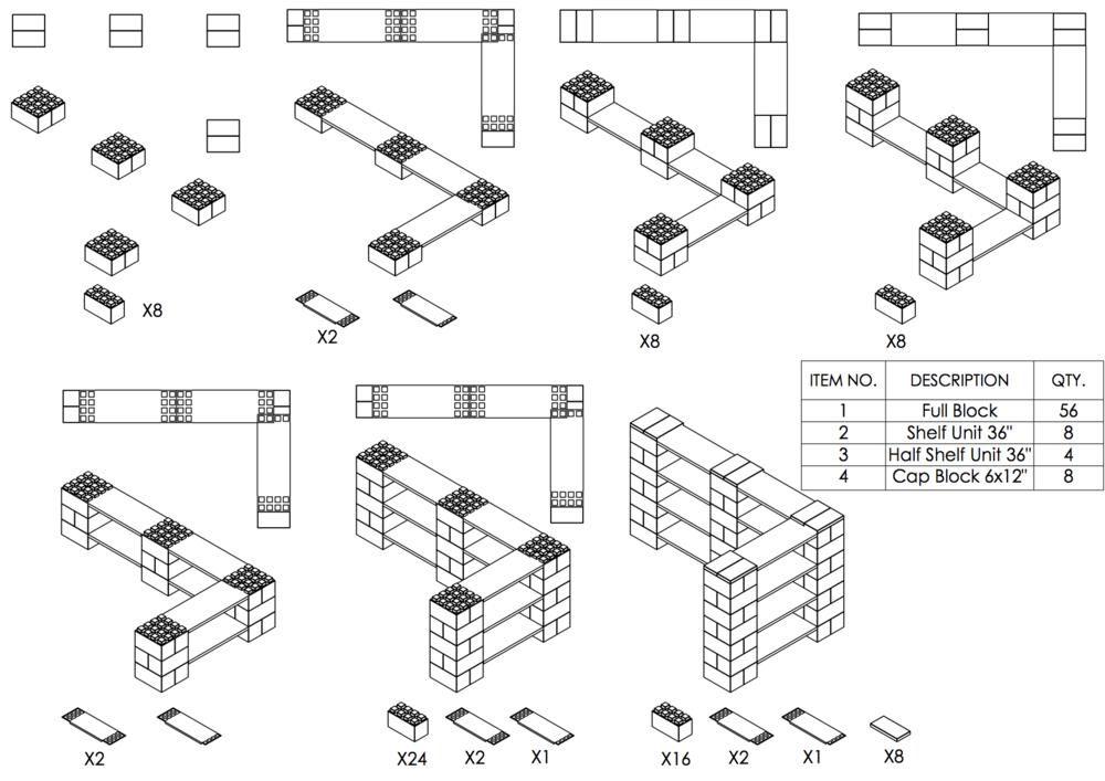 4-Ebenen-DOPPELECKREGAL - Typ A - Schritt-für-Schritt Instruktionen