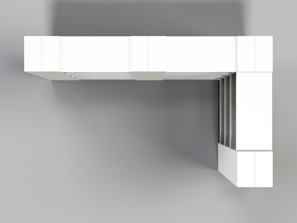 4-Ebenen-DOPPELECKREGAL - Typ A - Ansicht von oben