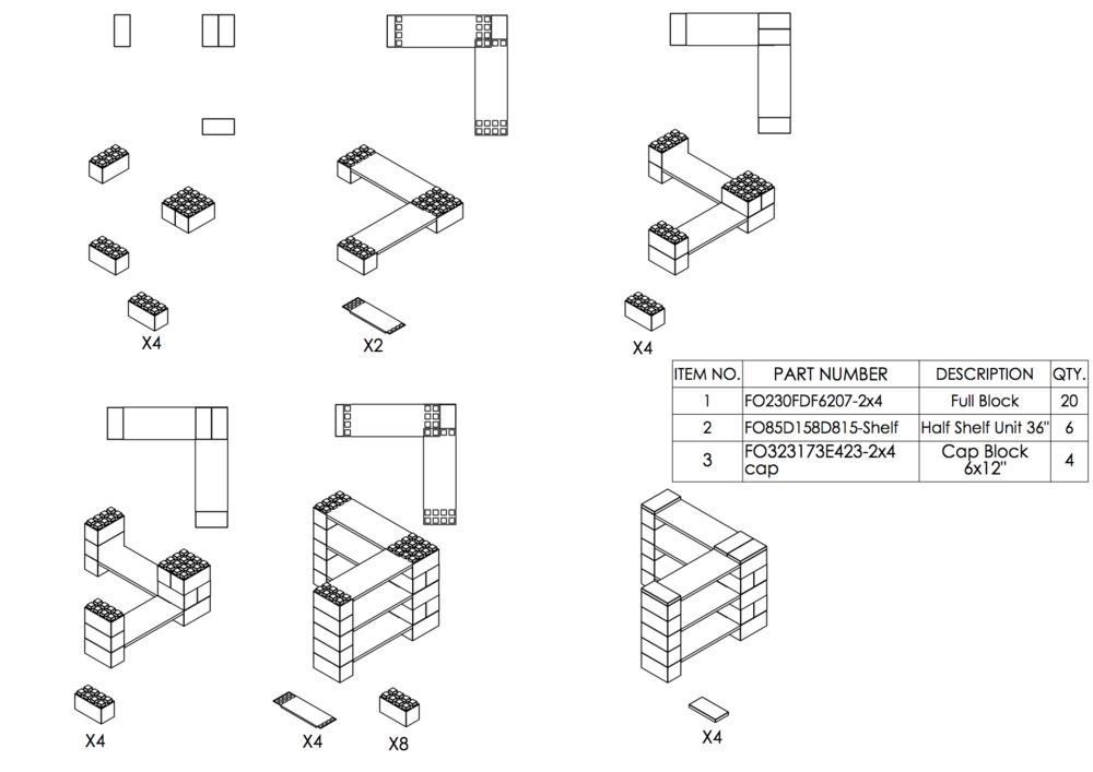 3-Ebenen-ECKREGAL - Typ B - Schritt-für-Schritt Instruktionen