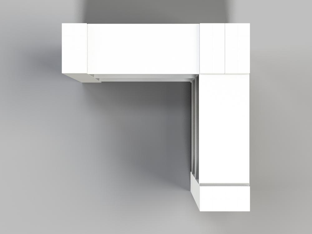 3-Ebenen-ECKREGAL - Typ B - Ansicht von oben