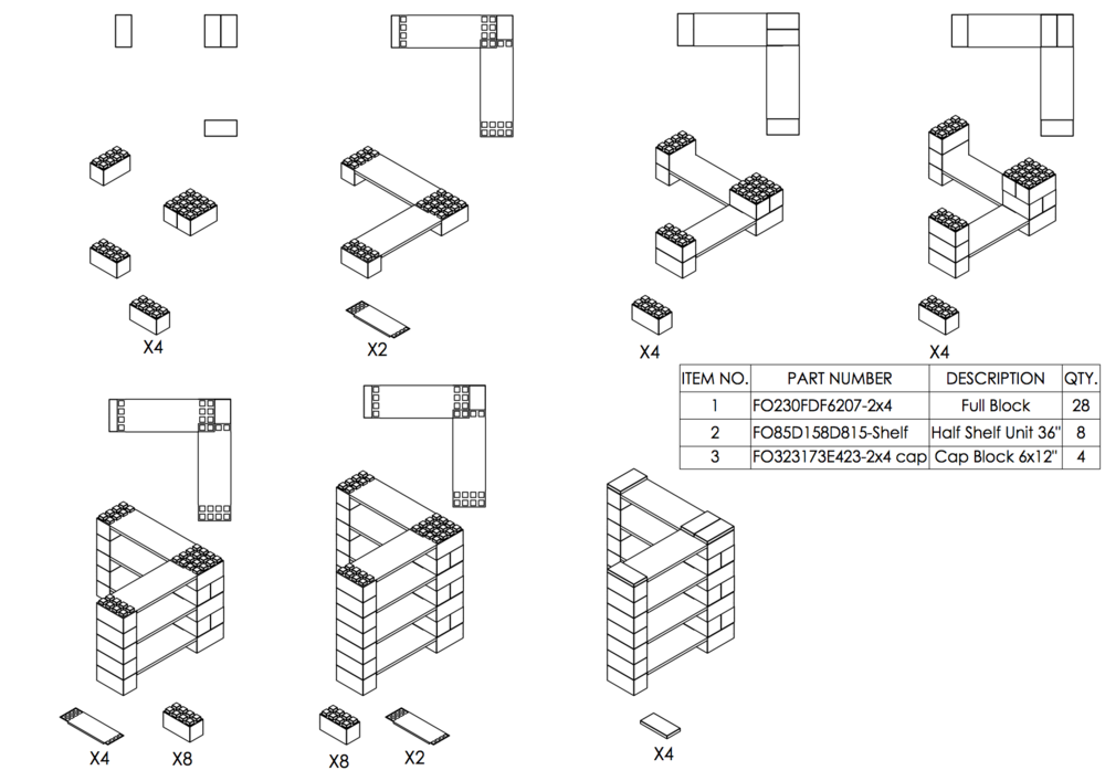 4-Ebenen-ECKREGAL -Typ B - Schritt-für-Schritt Instruktionen