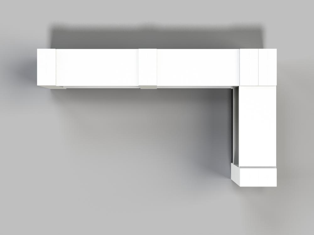 2-Ebenen-DOPPELECKREGAL - Typ B - Ansicht von oben