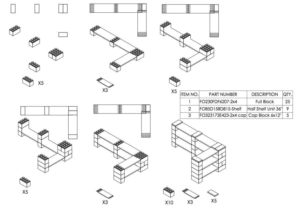 3-Ebenen-DOPPELECKREGAL - Typ B - Schritt-für-Schritt Instruktionen