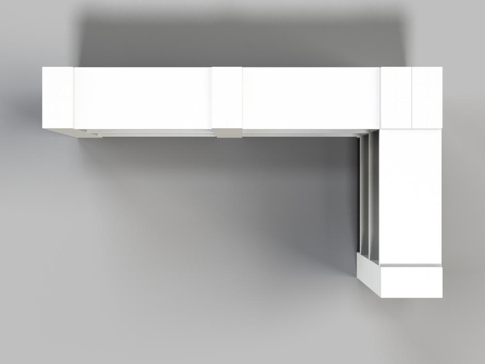 3-Ebenen-DOPPELECKREGAL - Typ B - Ansicht von oben