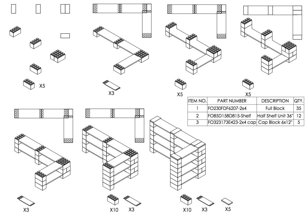 4-Ebenen-Doppel ECKREGAL - Typ B - Schritt-für-Schritt Instruktionen