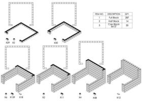 Stand mit Breite = 305cm und 150cm-Seitenwänden - Schritt-für-Schritt Instruktionen