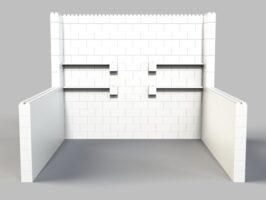 Stand mit Breite = 305cm und 305cm-Seitenwänden und Regalen - Vorderansicht