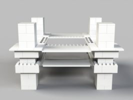 Aufwändige Catering-Station mit Säulen - Seitenansicht