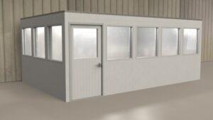 Erstellen Sie Büros, die zu einem späteren Zeitpunkt verlagert oder umkonfiguriert werden können. Fügen Sie Türen und Fenster nach Bedarf ein, ebenso Beleuchtung und anderes Zubehör.